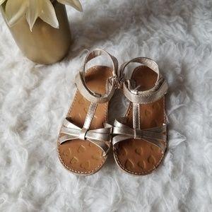 Gold Velcro Strap Sandals Girls 8